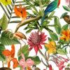 Outdoorstof Bora Bora blanc dralonprint stof voor tuinkussens met tropenprint