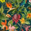 Outdoorstof Bora Bora petrol dralonprint stof voor tuinkussens met tropenprint