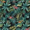 jacquardstof Bahia noir meubelstof gordijnstof decoratiestof stof met papegaaibloemen