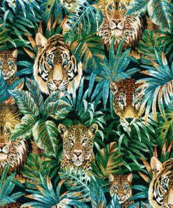 jacquardstof Beastly Emeraude stof met leeuwen decoratiestof gordijnstof meubelstof