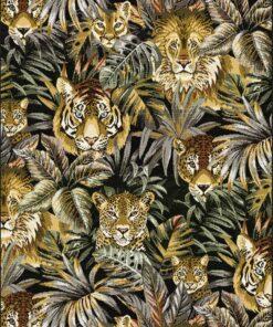 jacquardstof Beastly Kaki stof met leeuwen decoratiestof gordijnstof meubelstof