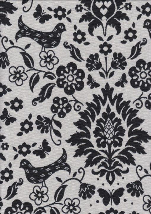 barokstof zwartwit dubbeldoek gordijnstof decoratiestof