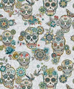 jacquardstof Cristobal Turquoise schedels interieurstof gordijnstof decoratiestof meubelstof
