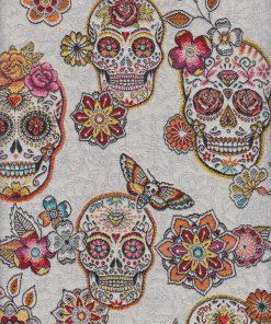 jacquard versierde schedels wit