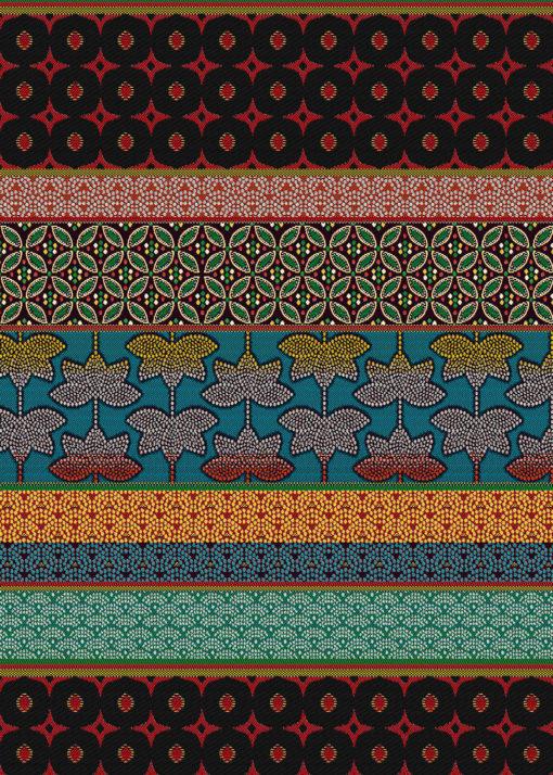 jacquardstof Dubai Rouge meubelstof gordijnstof decoratiestof interieurstof stof met banendessin