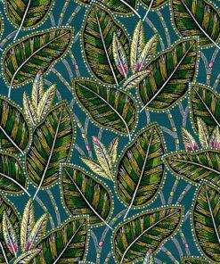 jacquardstof Eldorado bleu meubelstof gordijnstof decoratiestof interieurstof bladmotief