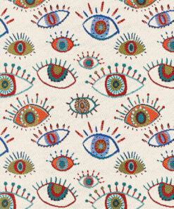 jacquardstof Eyes Allover White stof met ogen gordijnstof decoratiestof meubelstof