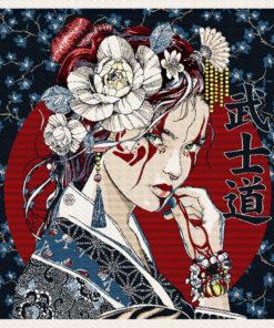 stofpanelen geisha encre jacquardstof