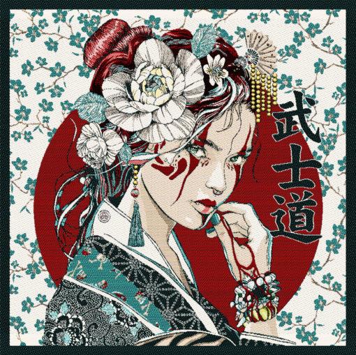 stofpanelen geisha turquoise jacquardstof