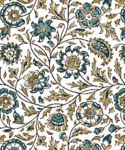 jacquardstof guirlande blanc emeraude stof met bloemen gordijnstof meubelstof decoratiestof