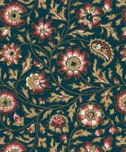 jacquardstof guirlande petrole stof met bloemen decoratiestof gordijnstof meubelstof