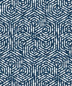 jacquardstof hexagone bleu meubelstof gordijnstof stof met zeshoeken