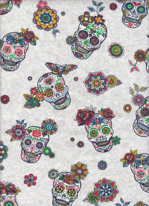 printstof versierde schedels wit