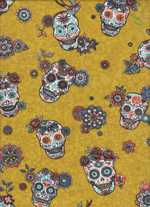 printstof versierde schedels geel