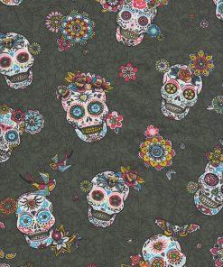 digitale printstof katoenen stof met doodshoofden decoratiestof gordijnstof meubelstof