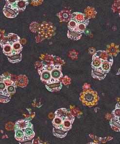 printstof versierde schedels zwart