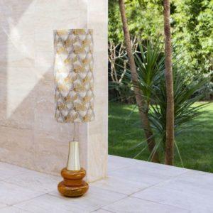 jacquardstof Lotus Raphia sfeer stof met lotusblad