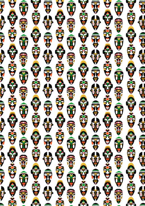 percale katoenprint Mask Blanc katoenen decoratiestof Inca maskers mondkapjes