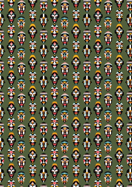 percale katoenprint Mask Kaki katoenen decoratiestof Inca maskers mondkapjes