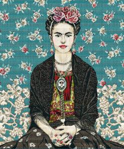 stofpanelen Frida Kahlo Magda Bleu jacquardstof