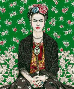 stofpanelen Frida Magda cactus jacquardstof
