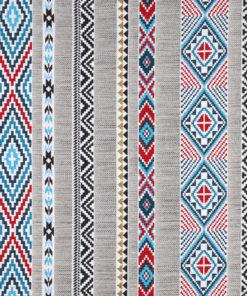 jacquardstof Navajo blue indianenstof meubelstof gordijnstof decoratiestof interieurstof
