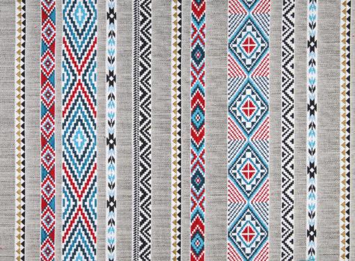 jacquardstof Navajo blue Latin stof meubelstof gordijnstof decoratiestof interieurstof