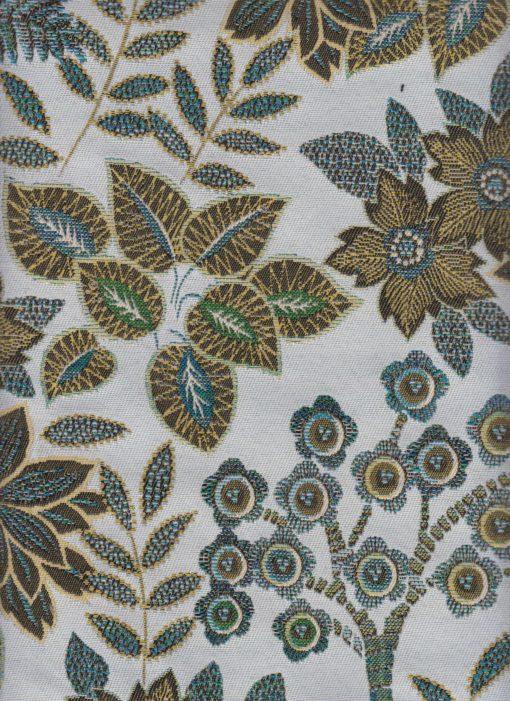 jacquardstof Paradise White meubelstof gordijnstof decoratiestof interieurstof stof met planten en bloemen