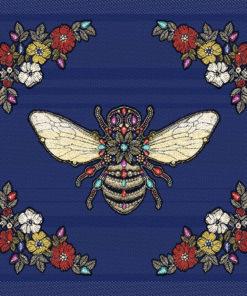 stofpanelen queen bee bleu jacquardstof bijenkoningin