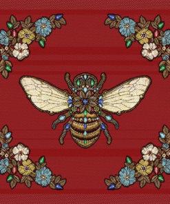 stofpanelen queen bee rouge jacquardstof bijenkoningin