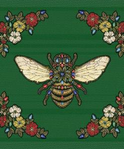 stofpanelen queen bee vert jacquardstof bijenkoningin