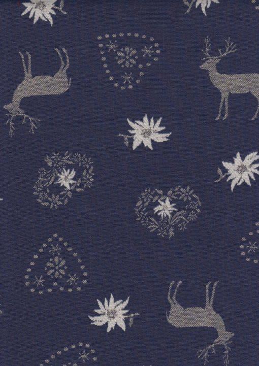 blauwe dubbeldoek kerststof gordijnstof decoratiestof