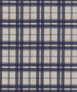 blauwe dubbeldoek ruitstof gordijnstof decoratiestof