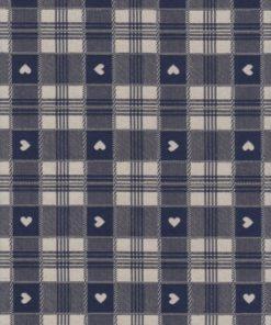 blauwe dubbeldoek ruitstof met hartjes gordijnstof decoratiestof