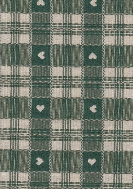 groene dubbeldoek ruitstof met hartjes gordijnstof decoratiestof