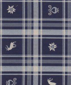 blauwe dubbeldoek ruitstof met figuurtjes gordijnstof decoratiestof