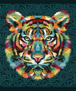 stofpanelen sherekahn multicolore jacquardstof tijgerkop