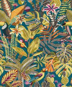jacquardstof sumatra caraibes meubelstof gordijnstof decoratiestof stof met vogels