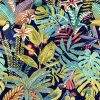 jacquardstof sumatra outremer stof met vogels meubelstof gordijnstof decoratiestof