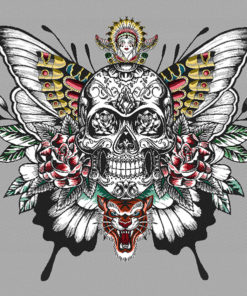 jacquardstof Skull silver jacquardstof doodshoofd