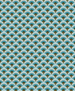 percale katoenprint Wazabi Bleu katoenen decoratiestof pauwenveren mondkapjes