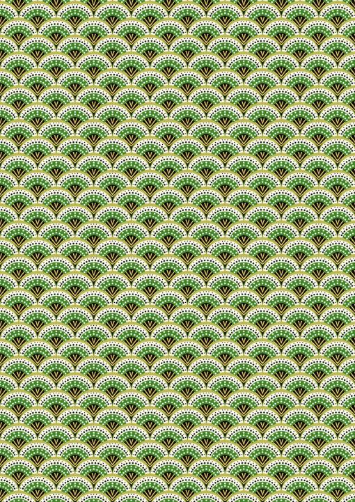 percale katoenprint Wazabi Vert katoenen decoratiestof pauwenveren mondkapjes