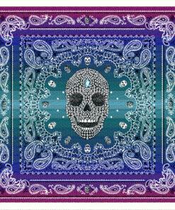 stofpanelen west bleu jacquardstof versierde schedel