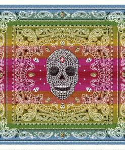 stofpanelen west multico jacquardstof versierde schedel