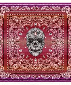 stofpanelen west rouge jacquardstof versierde schedel