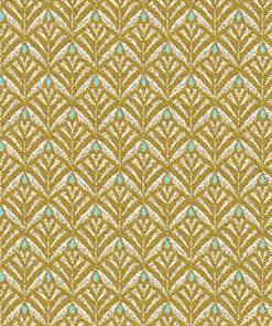 Jacquard stof Zephyr Yellow retro meubelstof gordijnstof decoratiestof