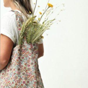 tas met bloemen van linnenlook stoffen