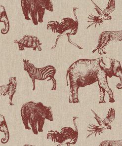 linnenlook Zoo stof met dieren decoratiestof 1.104530.1844.340